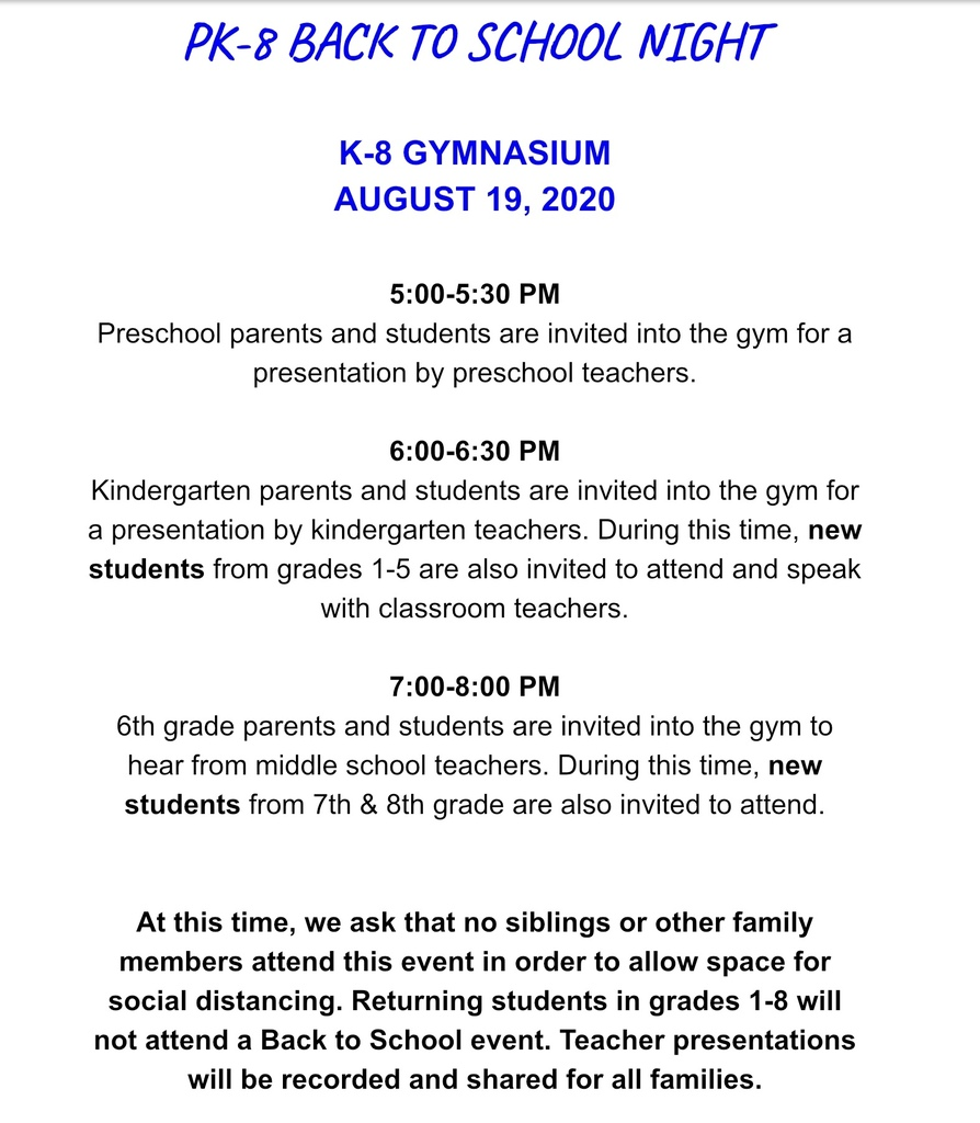 PK-8 Back to School Event